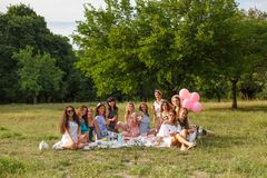 Group photo of young girls on picnic party at nature stock photography