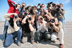 Group of photographers Royalty Free Stock Photos