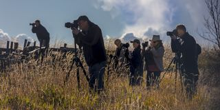 Group of photographers photograph at Last Dollar Ranch, Hastings. SEPT 29, 2017 - Group of photographers photograph at Last Dollar Ranch, Hastings Mesa, Colorado Stock Photo