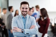 Group picture of businessman posing in office stock photo