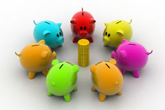 Group of piggybanks around with gold coins Royalty Free Stock Photos