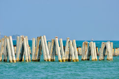 Group of pillars on sea Stock Photos