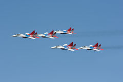 Group pilotage of fighters. Russian flight pilotage group Strizhi Stock Photography