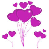 Group of pink balloon hearts on strings. Happy valentines day. V Royalty Free Stock Photo