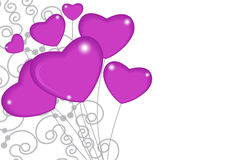 Group of pink balloon hearts on strings with ornament decoration Stock Photography