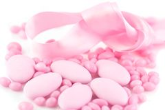 Group of pink dragees and Anicini royalty free stock photos