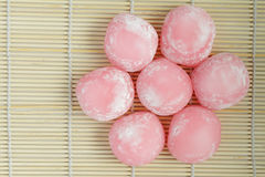 Group of pink japanese rice cakes Stock Image