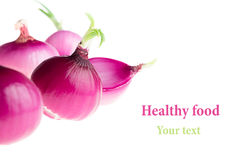 Group pink onion on a white background. Several peeled shiny onion. Isolated. Royalty Free Stock Photos