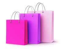 Group of pink paper shopping bags Stock Images