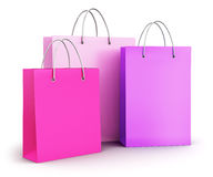 Group of pink paper shopping bags Stock Photos