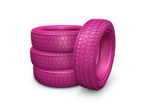 Group of pink tires isolated on white background Stock Photos