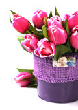 Group of pink tulips in a vase Stock Photography