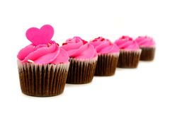 Group of pink Valentines Day cupcakes Royalty Free Stock Photography