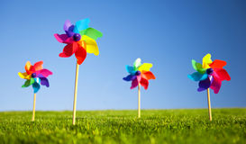 Group of Pinwheels on Grass Stock Photography