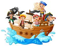 Group of pirate on the ship. Illustration of group of pirate on the ship Royalty Free Stock Photos