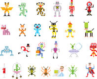 Group of pixel illustrations Royalty Free Stock Photo