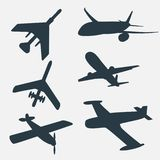 A group of planes in all different angles. Royalty Free Stock Image