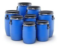 Group of plastic barrels Royalty Free Stock Photo