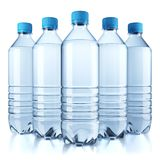 Group of plastic bottle with water. Isolated on white background. 3d Royalty Free Stock Images