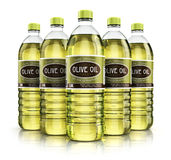 Group of plastic bottles with olive oil Stock Photos