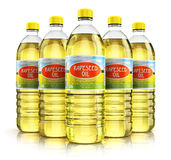 Group of plastic bottles with rapeseed oil Stock Photography