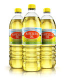 Group of plastic bottles with rapeseed oil. 3D render illustration of the group of three plastic bottles with yellow refined vegetable rape or rapeseed cooking Royalty Free Stock Photos