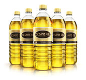 Group of plastic bottles with sesame seed oil Stock Photos