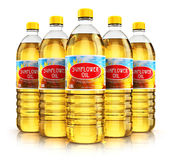 Group of plastic bottles with sunflower seed oil Royalty Free Stock Photos