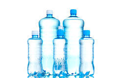 Group plastic bottles of water Royalty Free Stock Images