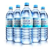 Group of plastic drink water bottles Stock Photography