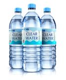Group of plastic drink water bottles. Creative abstract 3D render illustration of the group of three plastic bottles with clear purified drink carbonated water Royalty Free Stock Images