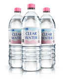 Group of plastic drink water bottles. 3D render illustration of the group of three plastic bottles with clear purified drink carbonated water isolated on white Royalty Free Stock Photo