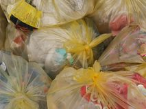 Group of plastic recycling bags.  stock photo