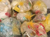 Group of plastic recycling bags.  stock photos