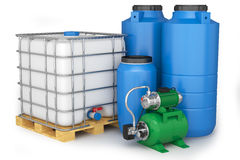 Group of plastic water tanks and pumping station Royalty Free Stock Photography