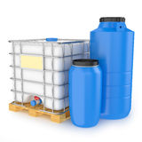 Group of plastic water tanks  on white background Royalty Free Stock Image