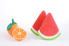 Group of plasticine fruits Stock Photo