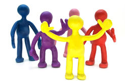 Group of plasticine puppets on white background Royalty Free Stock Photography