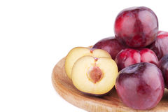 Group of plum and a half  on white. Group of plum  and a half  on white background Stock Photography