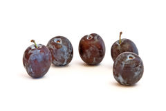 Group of plums  on a white Royalty Free Stock Images