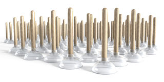 Group of plungers made of wood and glass Royalty Free Stock Photos