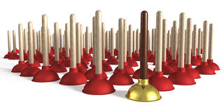 Group of plungers, one made of precious wood and gold Royalty Free Stock Images