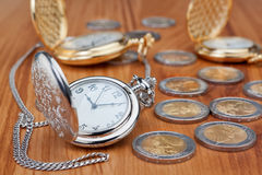 Group pocket watch of euro coins. Stock Image