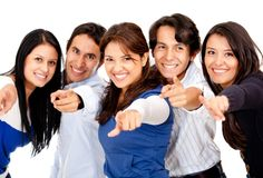Group pointing at the camera Royalty Free Stock Image