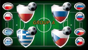Group A - Poland, Greece, Russia, Czech Republic. Euro 2012 Group A - Poland, Greece, Russia, Czech Republic. Participation of teams at the biggest European Stock Image