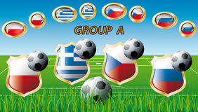 Group A - Poland, Greece, Russia, Czech Republic. Euro 2012 Group A - Poland, Greece, Russia, Czech Republic. Participation of teams at the biggest European Royalty Free Stock Photo