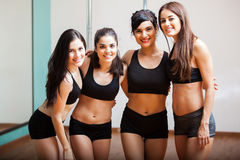 Group of pole dance students Stock Photo