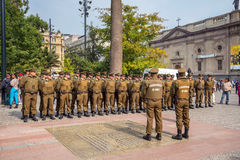 Group of police officers at Plaza de Armas, Chile Royalty Free Stock Photography