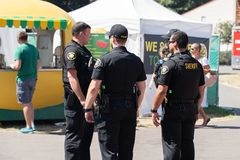 Group of police officers at the Washington county fair royalty free stock photography