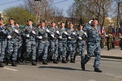 Group of police special troops on parade Royalty Free Stock Photo